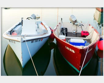 Two Boats Photo, Boat Photograph, Cape Cod Boat Art, Dinghy Photo, Nautical Wall Art, Boat Lover Gift, Harbor Photo, Wood Hole Photo