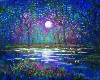 Giclee Canvas Print  Spring Cherry Trees Lake and Fireflies  Vadal - 20 x 16 x 3/4