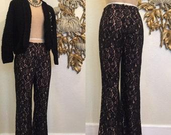 Fall sale 1960s pants  lace pants black pants lace illusion size medium vintage pants sexy pants 27 waist