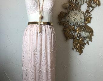 1980s skirt silk skirt pink skirt beaded skirt size medium vintage skirt flapper skirt judith ann skirt