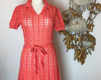 Fall sale 1960s dress vintage dress coral dress open knit dress 20s style dress see through dress size medium 60s dress 60s does the 20s