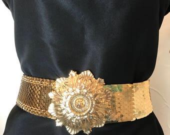 1970s belt gold belt fish scale belt metallic belt scalloped belt metal belt size medium vintage belt