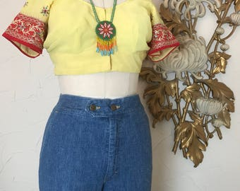 Vintage blouse crop top half shirt size medium ethic blouse belly shirt yellow blouse indian blouse beaded top size large 38 bust