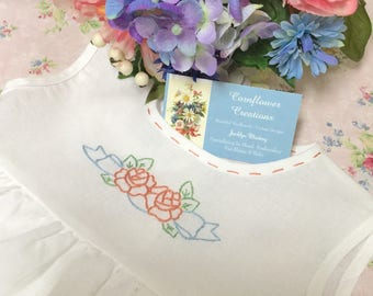 Roses & Bows - Hand Embroidered Hemstiched White Linen Baby Dress
