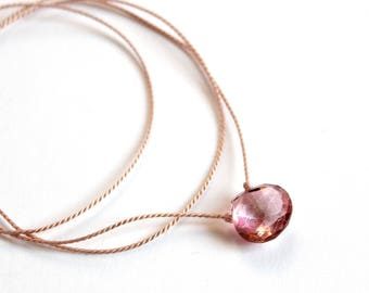 Mystic Topaz Necklace/Silk Cord Necklace/Pink Gemstone/Jewelry/Cord Jewelry/Spring Jewelry/Pink Topaz Pendant/Handmade Jewelry/Gift for Her