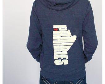 Prairies Hoodie Province of Manitoba Print on Blue Tri-Blend Hooded Sweatshirt