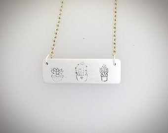 Succulent Tag necklace-cacti necklace-plant lover necklace-vegan jewelry-gardening-vegan gift- birthday-anniversary-gift-gardeners gift