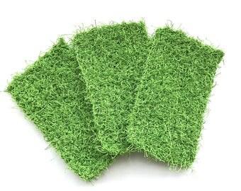Dish Scrubby, Dish Scrubbies, Green Crochet Scrubbies, Pot Scrubber, Eco Friendly Kitchen Scrubby, Cleaning, Set  of 3
