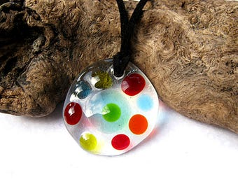 Animal Cell Glass Pendant Eukaryote, Biology Jewelry, Geek Necklace