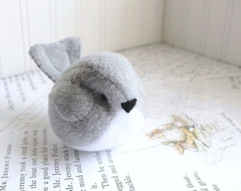 Light Gray Handmade Bird Stuffed Animal Childrens Fleece Bird READY TO SHIP