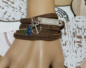 GB-4 IIH Awareness Boho Wrap Bracelet For Women Intracranial Hypertension Neurofibromatosis Jewelry AVN Boho Leather Bracelet For Men
