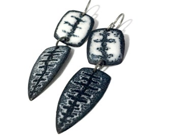 Trilobite Black and White Matte Geometic Enamel Earrings black and white titanium earwires hypoallergenic