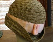 RESERVED Revived 1920s natural straw cloche hat with pink grosgrain ribbon