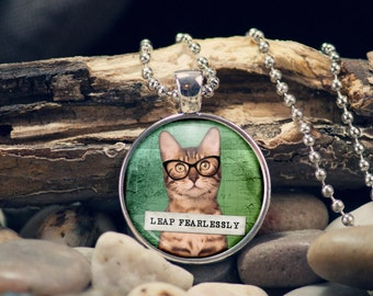 Tabby Cat Pendant, Cat with Glasses, Leap Fearless, Cat Lover Gift, Cat Art, Hip Cat, Inspirational Kitty, Uplifting, Cat Key Ring