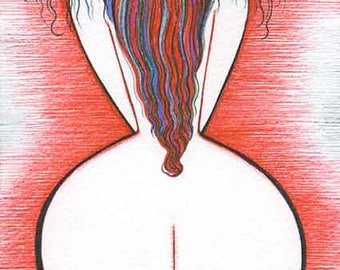 ORIGINAL Bedroom Art Modern drawing Erotic artistic Nude Woman Redhead wall decor artwork