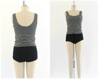 vintage 1950s black and white striped tankini swimsuit | 50s two piece bathing suit | vtg swimwear | small/medium