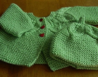 Hand knitted baby sweater and beanie bonnet-handmade infant reborn dolls