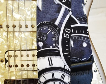 Time nautilus clock swirls the Doctor inspired guitar strap