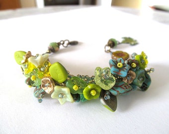 Handbeaded Zen Garden Bracelet, Glass Flower Beads, Botanical Jewelry, Floral Wrist Corsage, Beadwork