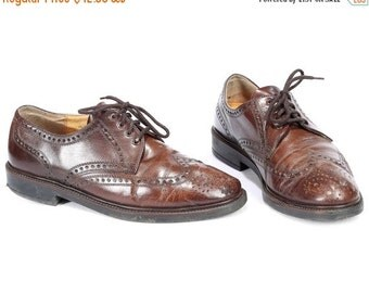 SALE . Men Brogues Made In Austria 80s Brown Leather Vintage Lace Up Perforated Wedding Derby Oxford Shoes Mens Gift Eur 44 Us men 10  Uk 9.