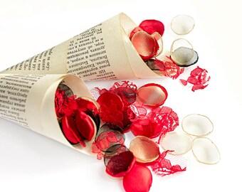 Wedding confetti cones - paper confetti cones, vintage book page cones, petal cones, toss cones, vintage weddings, shabby chic, decorations