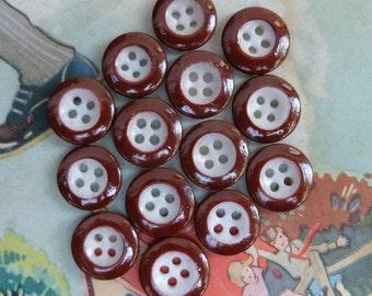 Vintage China Color Rim Buttons Brown 14