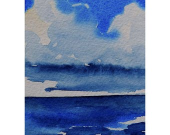 ACEO Ocean Storm Clouds Original Watercolor Painting Gulf Storm Towering Clouds Disturbance In Eden Mary Hamilton Desk Shelf Art Collectible
