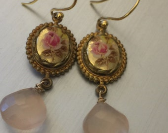 Vintage-Inspired Flower and Chalcedony Earrings