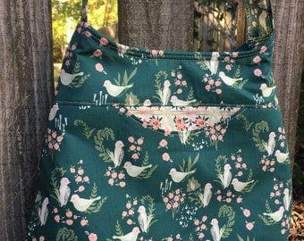 Forest Green birds and flowers adjustable cross body bag