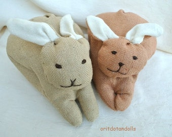 Bunny soft toy made of silk fabric stuffed with merino wool