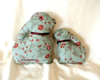 Bunny soft toy made of cotton stuffed with merino wool-choose- mother, child or both