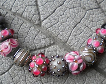 Pink Gray Lampwork Beads by Cherie Sra R114 Flameworked Glass Bead Pink Fushia Gray Lampwork Bead Double Helix  Silver Glass Lampwork