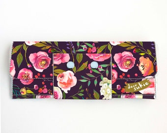 Vinyl Long Wallet - Pastel Floral Violet / flowers, vegan, pretty, large wallet, clutch, card case, vinyl wallet, roses, peonies, peony