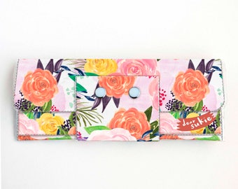 Vinyl Long Wallet - Joyful Spring1 / floral, pink, polka dot, vegan, pretty, large wallet, clutch, card case, vinyl wallet, big, cute, woman