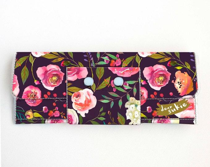 Vinyl Long Wallet - Pastel Floral Violet / flowers, vegan, pretty, large wallet, clutch, card case, vinyl wallet, roses, peonies, peony