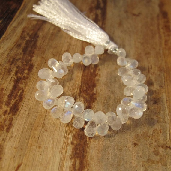 Rainbow Moonstone Beads, Faceted Briolettes, Natural Gemstone, 7x4mm, 4 Inch Strand, Over 48 Moonstone Teardrops (B-Mo2a)