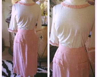 Vintage 1950s Dress 2 piece off white pink tweed 50s M L rockabilly secretary wiggle blouse skirt 50s