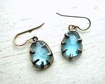 Two Faced Topaz Dangles - 14k GF and Sterling Silver Inverted Prong Dangle Earrings