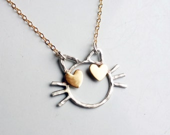 Cat with Heart Eyes Necklace- Two Toned Love Cat - Handmade Sterling silver emoji cat with brass heart eyes