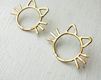 Cat Studs in Sterling Silver or Golden Brass with Sterling Silver Posts Handmade Kitty Earrings whiskers cat ears