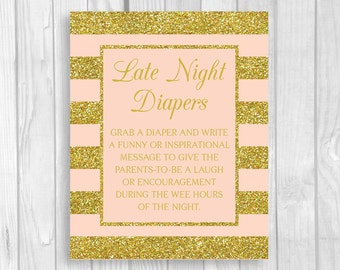 Printable 5x7 or 8x10 Late Night Diapers Baby Shower Sign - Pink and Gold Glitter Stripes - Funny Advice for Mom and Dad - Instant Download
