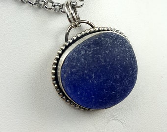 Cobalt Blue Sea Glass Necklace Sea Glass Jewelry Sterling Silver Necklace Pendant Cobalt Blue Sea Glass Necklace - N-464