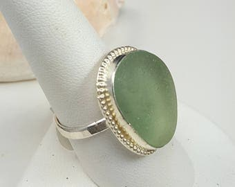 Sea Glass Jewelry Sea Glass Ring Aqua Seafoam Sea Glass Ring Aqua Seafoam Beach Glass Ring Size 9 - R-153