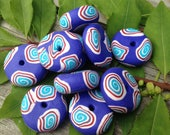 Fun and Colorful Set of Handmade Polymer Clay Beads in Dark Purple With Turquoise and Red