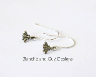 Tiny Silver Bee Charm Earrings on Sterling Silver