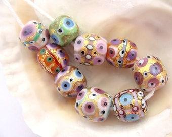 9 Golden Handmade Lampwork Beads