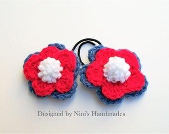 Ready To Ship, Reusable Versatile Denim and Red Crochet Flower Ponytail Holder Hair Tie, crochet flower hair accessories, pink flower hair