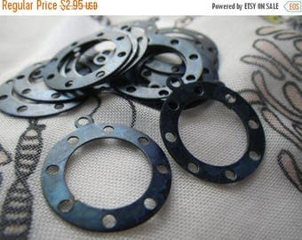 On Sale 25% Off Pretty Dark Blue Tinted Brass Rings with Loop 20mm 6 Pcs