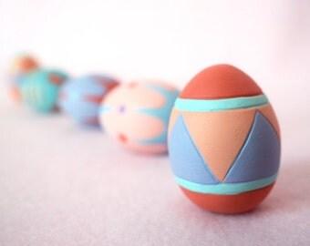 Ceramic Easter Eggs - Set of 5 - Miniature Easter Eggs - Geometric Art - Modern Decor - Happy Easter - Gift For Her