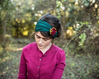 Holiday Holly Berry Rosette Headband in JADE- Garlands of Grace headband hair wrap headcovering  band Stretch